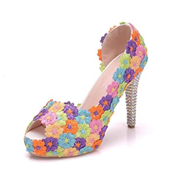 sold worldwide skate shoes special section Amazon.com: bredLily Multicolor Lace Flower High Heels 4 ...