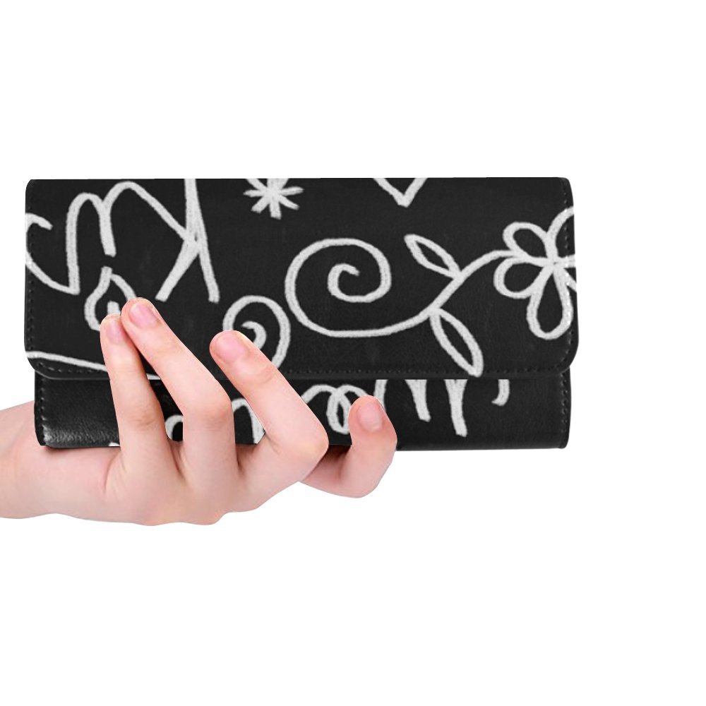 Unique Custom Wedding Chalkboard Icons Set Doodles Sketch Chalk Women Trifold Wallet Long Purse Credit Card Holder Case Handbag by Jnseff