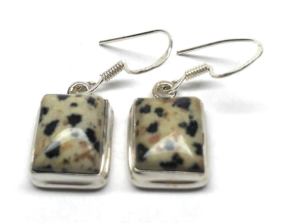On Sale Dalmatian Jasper Pendant Necklace Earrings Sterling Ear Wires Clasp