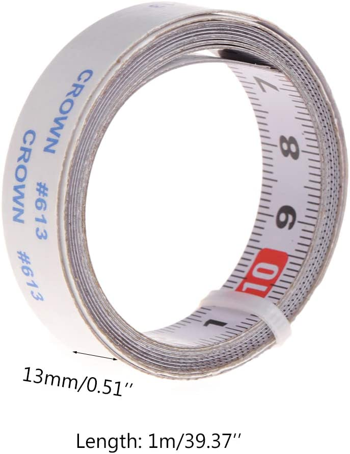 VAILANG Gehrungss/äge Bandma/ß Selbstklebendes metrisches Stahllineal Gehrungsschienen-Stoppband 1 m von rechts nach Links
