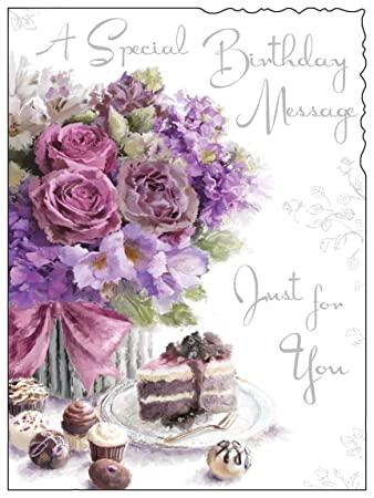 Female birthday greetings card jj8887 velvet flowers cake female birthday greetings card jj8887 velvet flowers cake silver m4hsunfo