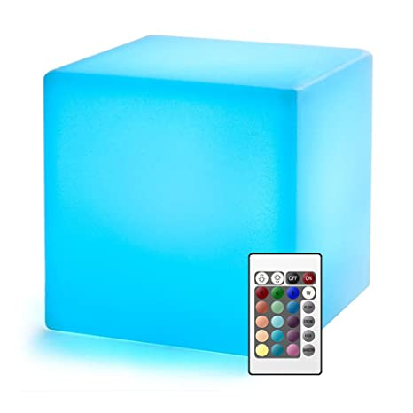 Luz Con Cubo De Led RemotoLampara 20cm Infantil Control Nocturna CWQderBox