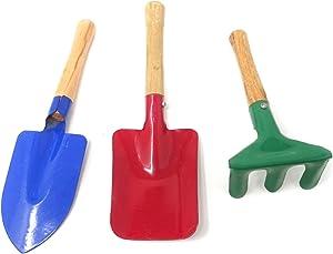 HONBAY 3PCS Mini Metal Rake Shovel Trowel Set Garden Tools Beach Toy