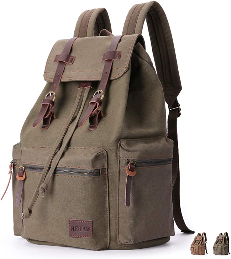 FLEXIPAGE Leather Canvas Vintage Retro Backpack High Capacity College School Hiking Travel Laptop Schoolbag for Men Women