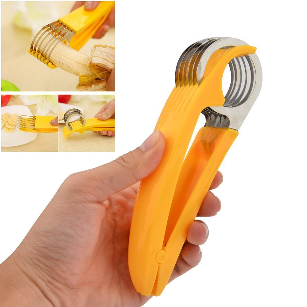 Fruit Slicer - One Squeeze 6 Perfect Slices - for Bananas, Cucumbers, Kiwi, and sausages