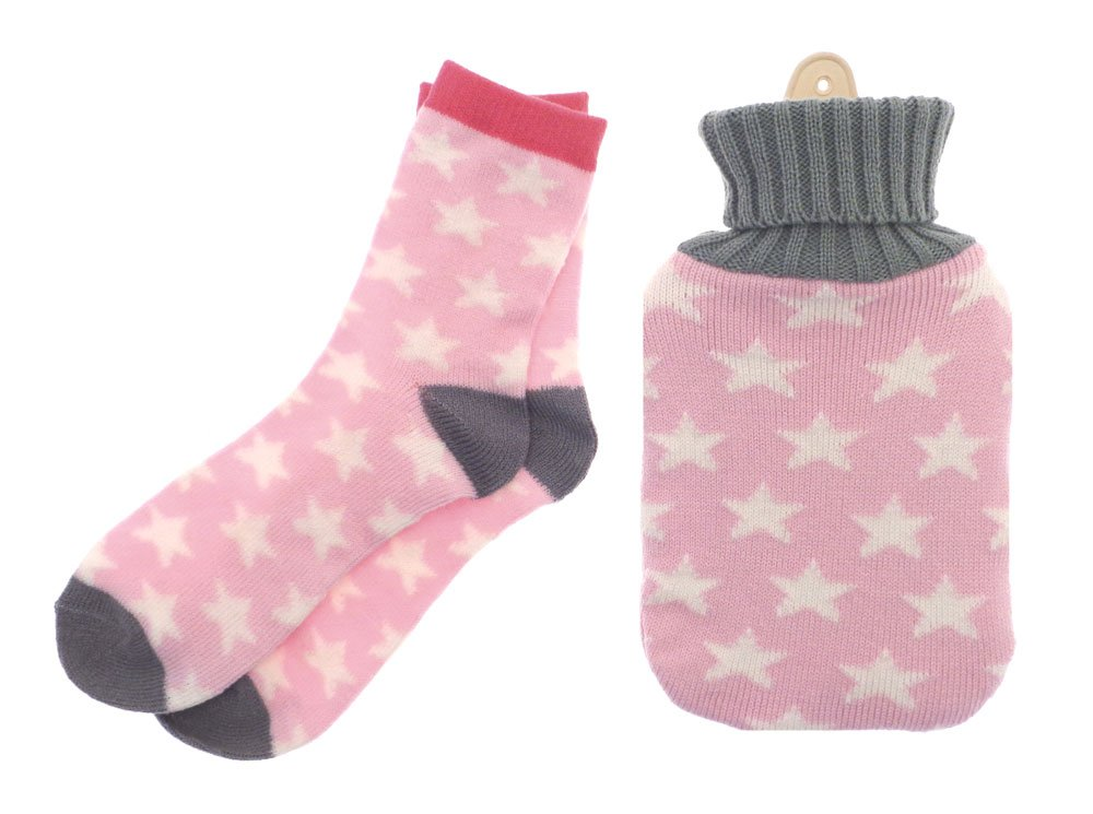 Mini Hot Water Bottle with Knitted Cover and Socks - Xmas Gift Set - Pink Stars Gelpacksdirect