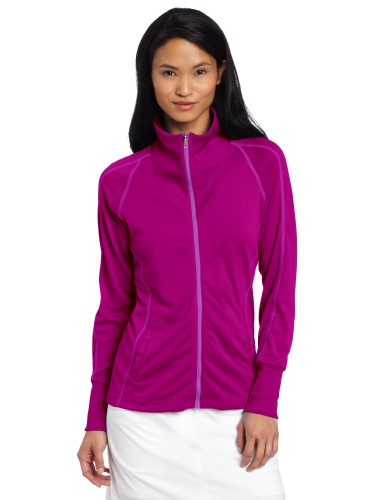 adidas Golf Women's Contrast Stitched Full-Zip Training Top, Passion Fruit, Large