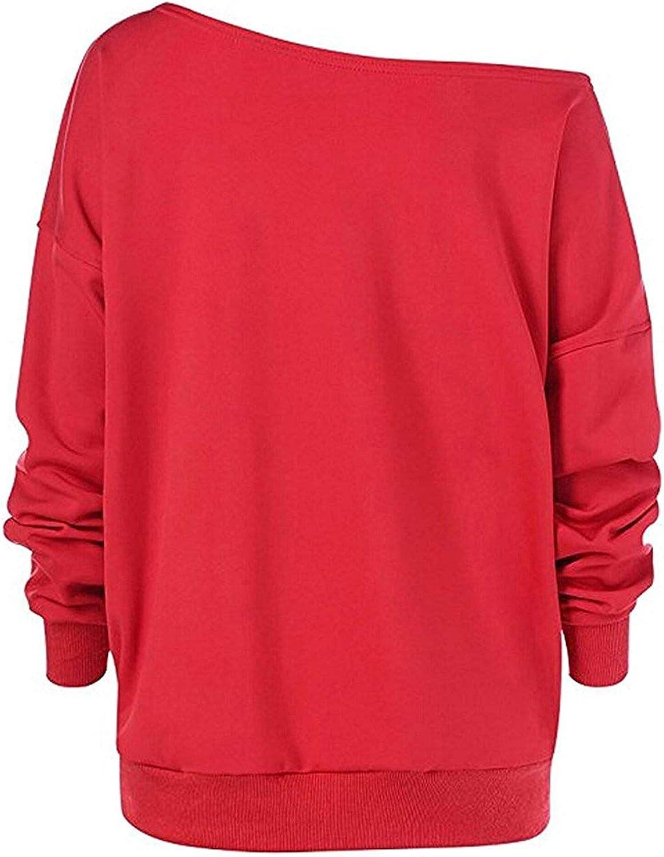 Womens Oversized Deer Print Long Sleeve Off Shoulder Pullover Sweatshirt Tops Fleece Velvet