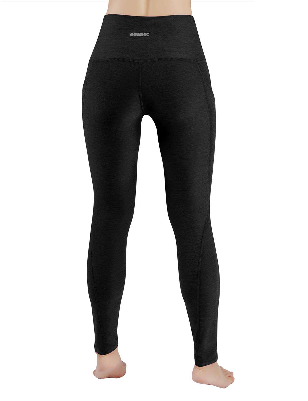 ODODOS High Waist Out Pocket Yoga Pants Tummy Control Workout Running 4 Way Stretch Yoga Leggings,Black,Medium by ODODOS (Image #3)