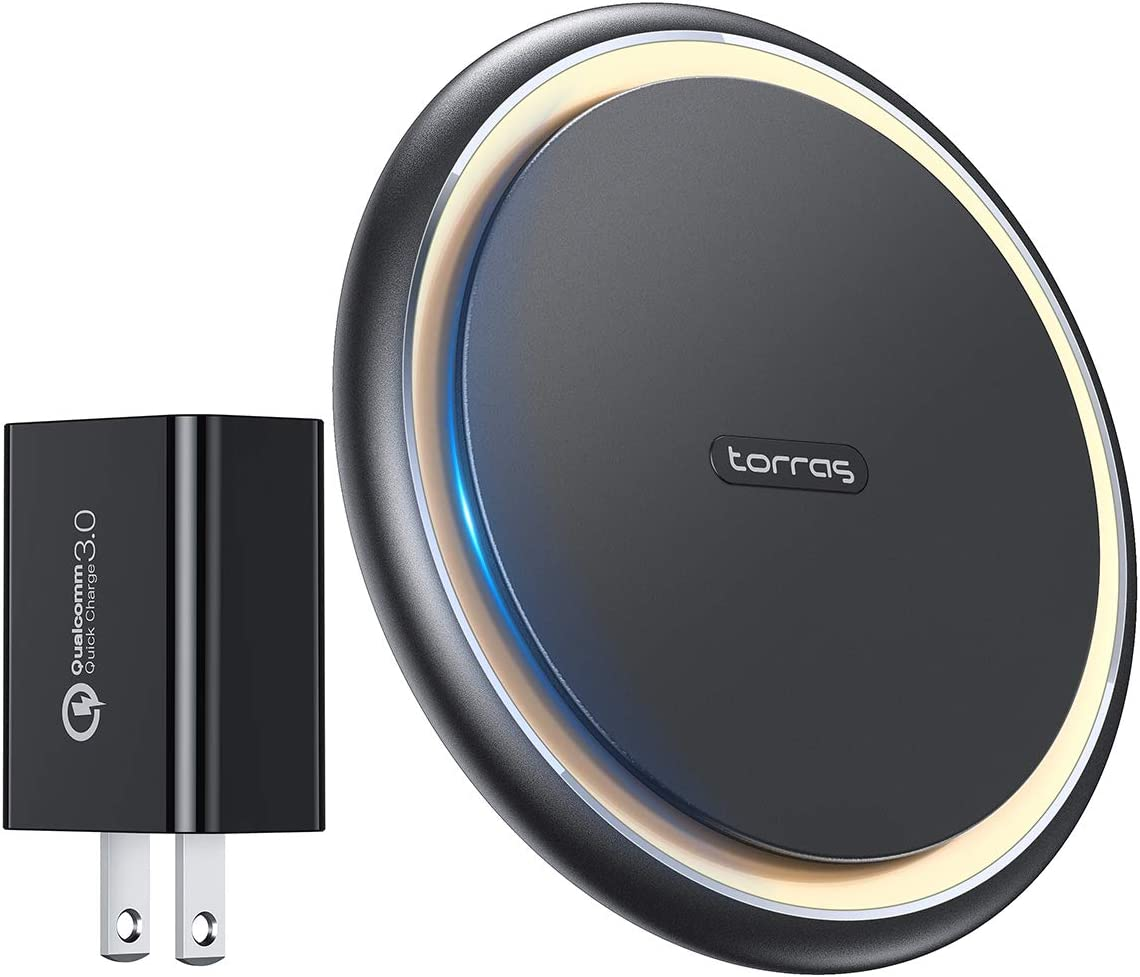 TORRAS [Upgraded to 15W] Fast Wireless Charger with QC3.0 Adapter, Qi-Certified Alloy Cooling Wireless Charging Pad Compatible iPhone 11/Pro Max/X/XS/XR/8, Samsung Galaxy S10/S9/S8/Note, LG v30/v40