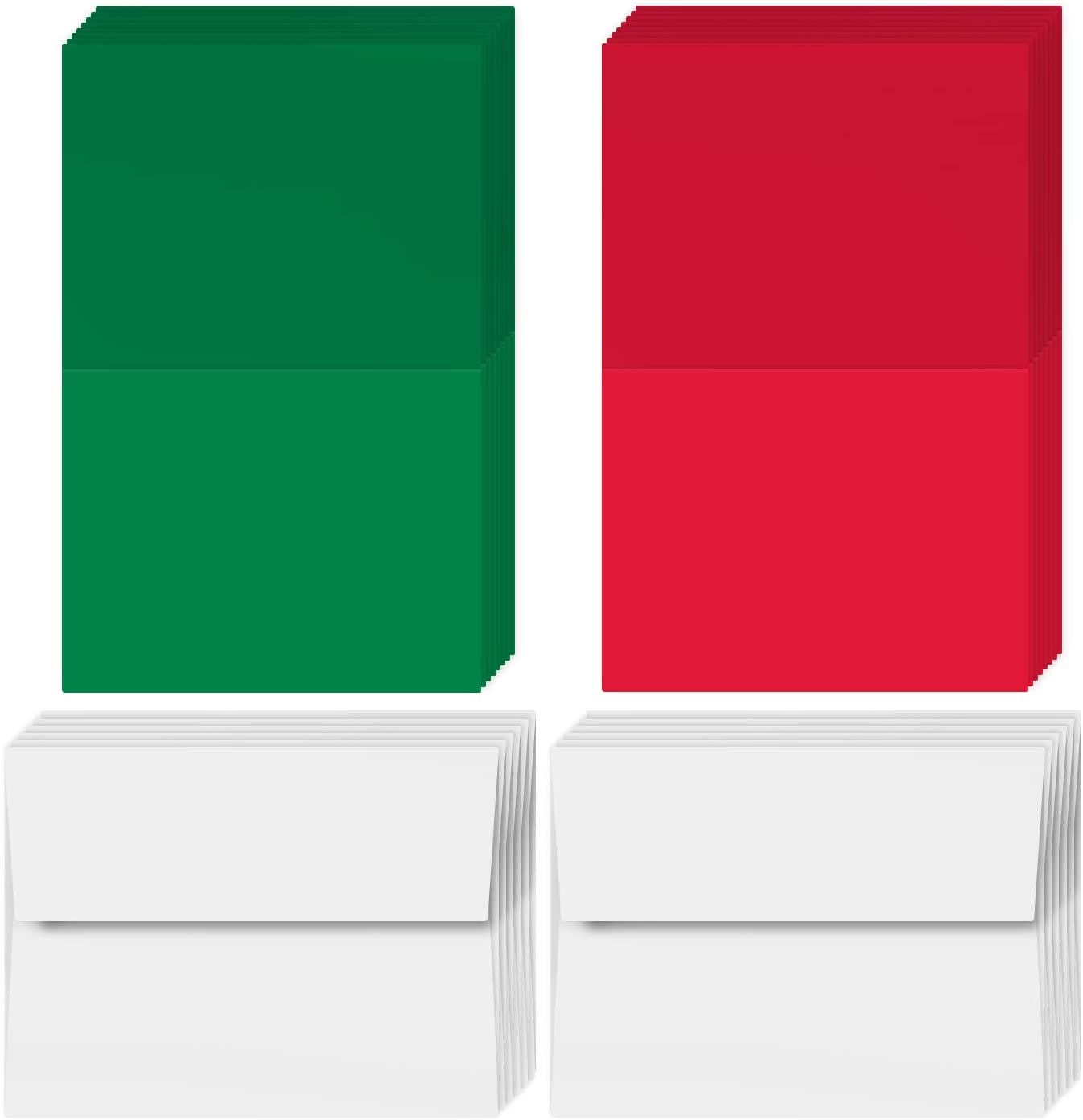 2021 Holiday Christmas Greeting Cards - 25 Red & 25 Green Blank Cards with 50 White Envelopes - Card Size 4.25 x 5.5 Inches When Folded - Envelopes Size A2 : Office Products