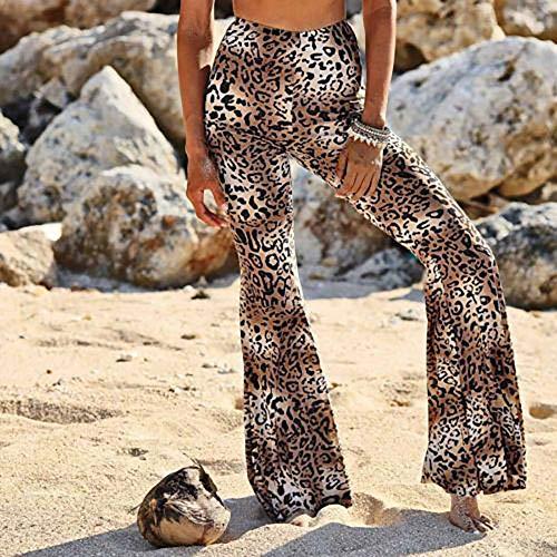 Lunghi con Straight a Donna Pantaloni stampato Pantalone YanHoo vita leggings a Donna donna pantaloni Scozzese larga svasato Casual gamba A fondo bassa Alta Vita Marrone Pantaloni qvCtwa