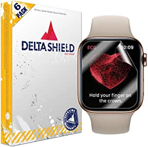 DeltaShield Screen Protector for Apple Watch Series 4 (44mm)(6-Pack)(EZ Installation) BodyArmor Anti-Bubble Military-Grade Clear TPU Film