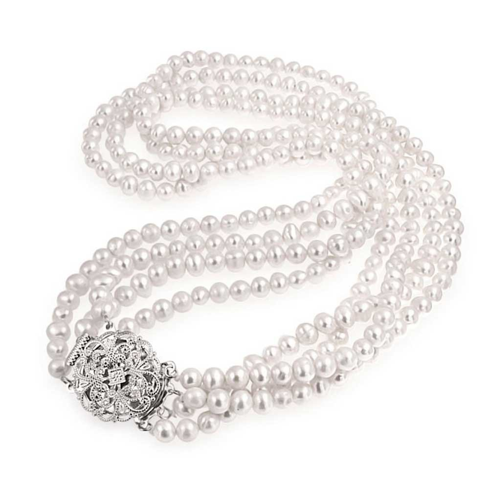 Bridal Freshwater Pearl Multi Strand Necklace Floral CZ Clasp Rhodium Plated Brass 16 Inch
