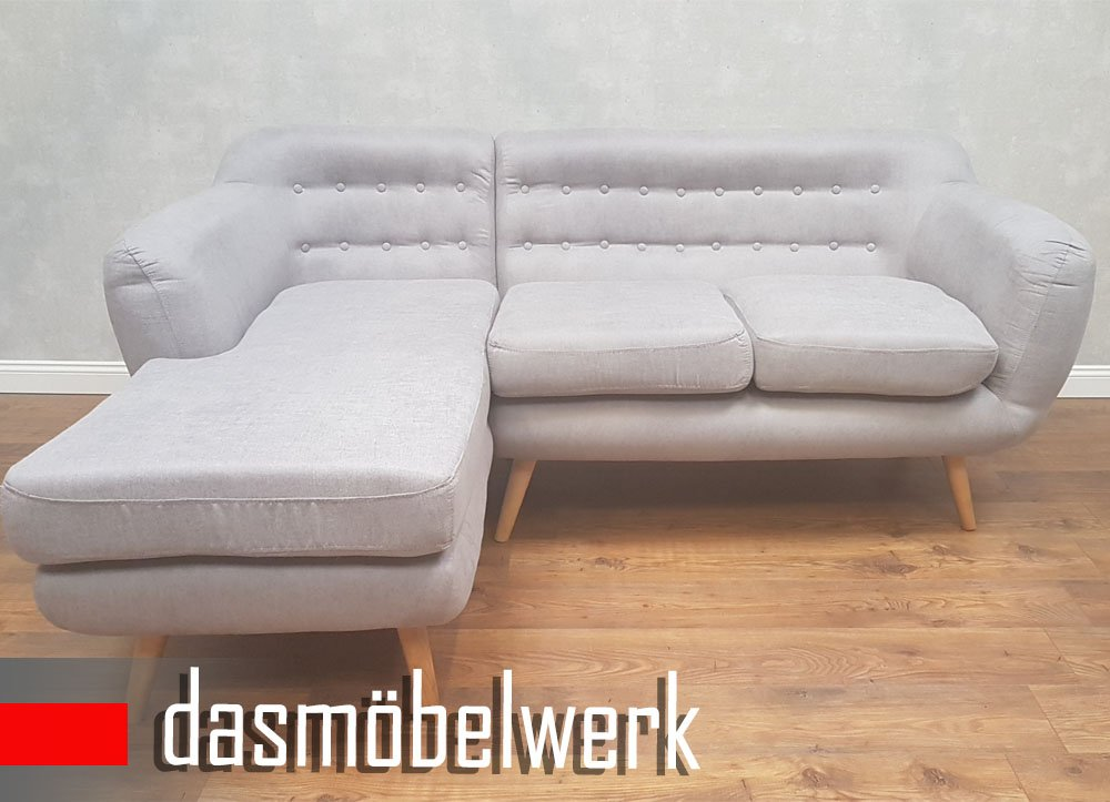 dasmöbelwerk Polsterecke Ecksofa Couch Eckcouch L-Form Sofa Grau Indigo