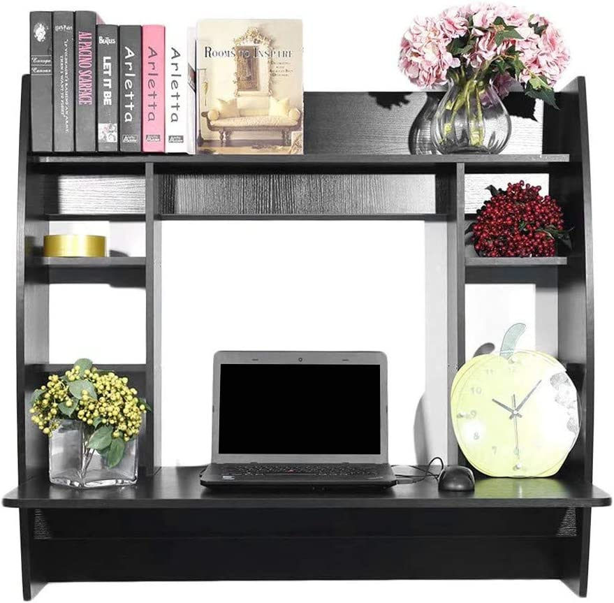 Wall Mounted Table Floating Desk Multi-Function Wall Mount Laptop Desk Writing Desk Home Office Computer Desk with Large Storage Area Kids Bookshelf (Black)