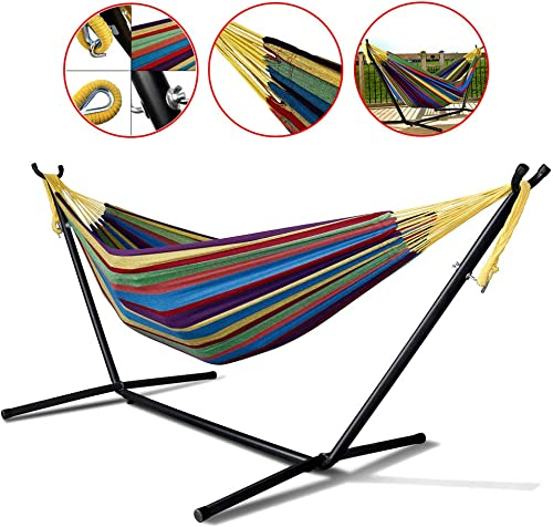 WYTong Hot Sale Double Hammock with Space Saving Steel Stand Includes Portable Carrying Case, Extra Large Hammock for Backyard, Porch, Outdoor and Indoor Use,Shipping from US B