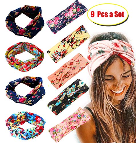 FIBO STEEL 15 Pcs Headbands for Women Girls Wide Boho Knotted Yoga Head Wrap Hair Band Elastic