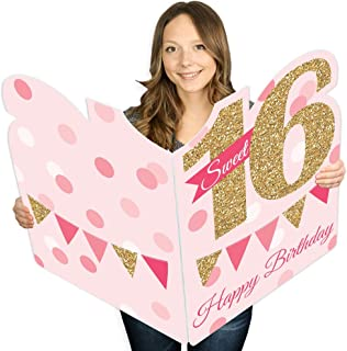 product image for Big Dot of Happiness Sweet 16 - Happy 16th Birthday Giant Greeting Card - Big Shaped Jumborific Card - 16.5 x 22 inches