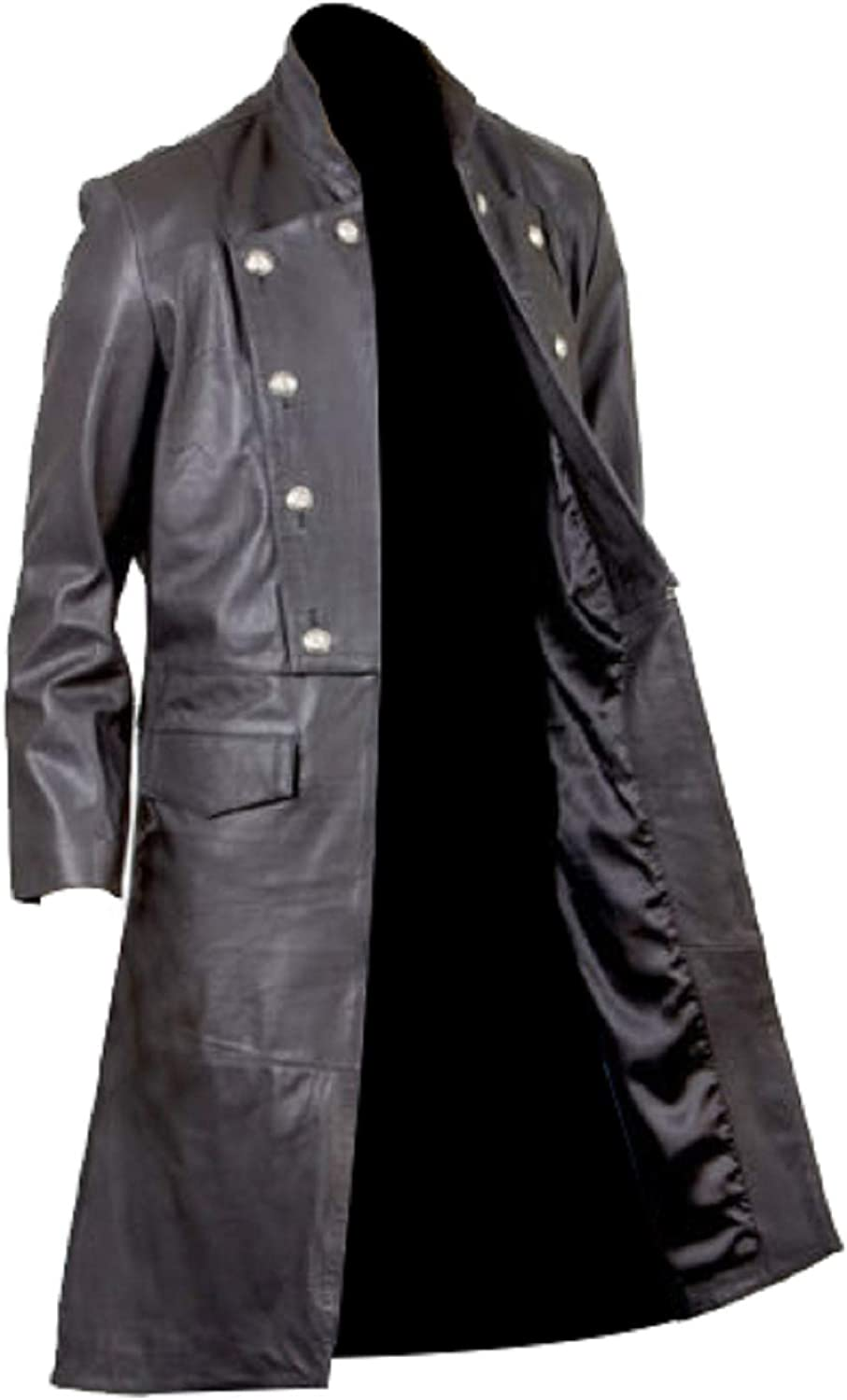 Men/'s Goth Butler Military Style Steampunk Leather Matrix Trench Coat