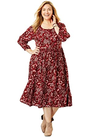 5d30be84307 Woman Within Plus Size Empire Crinkle Dress at Amazon Women s Clothing  store