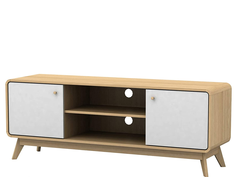 Carmen HiFi TV-Bank Board Lowboard Fernsehtisch Fernsehschrank Wohnzimmer Schrank Skandinavisches Design Retro (weiß/Natur)