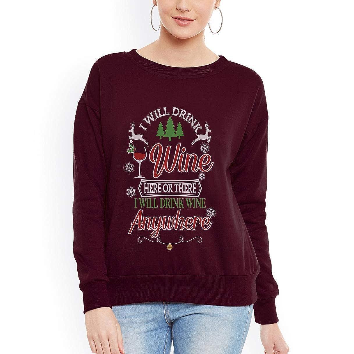 tee Wine Christmas Wine Drinking Diamond Wine Glasses Women Sweatshirt