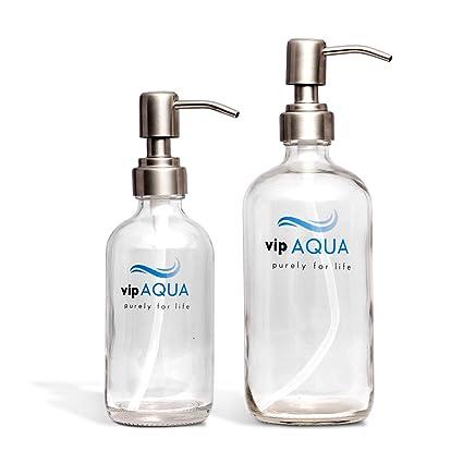 Bon Vipaqua Clear Glass Soap Dispenser With Stainless Steel Pump, 16oz U0026 8oz (2  Pack
