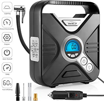 12v Digital Tyre Inflator Portable Electric Tyre Pump Travel Air Compressor