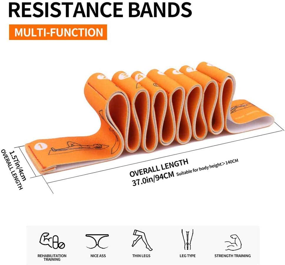 Pubiao Yoga Belts Stretching Strap Exercise Bands with 8 Numbered Loops for Sports Pilates Dance and Gymnastics,Rehabilitation
