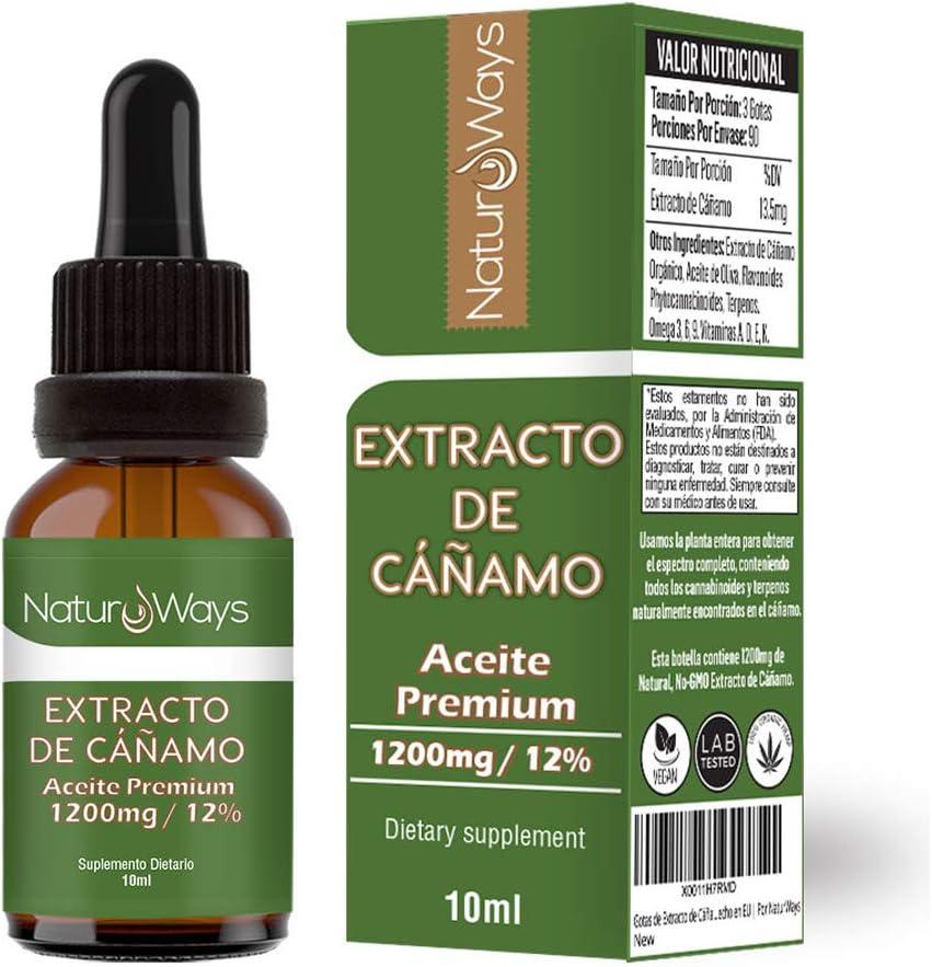 Gotas de Extracto de Cáñamo Orgánico 1200Mg (12%) | Alivia el estrés, dolor y ansiedad | 10ml Vegano & Vegetariano | Espectro Completo | Extraído con Co2 | Hecho en EU | Por NaturWays