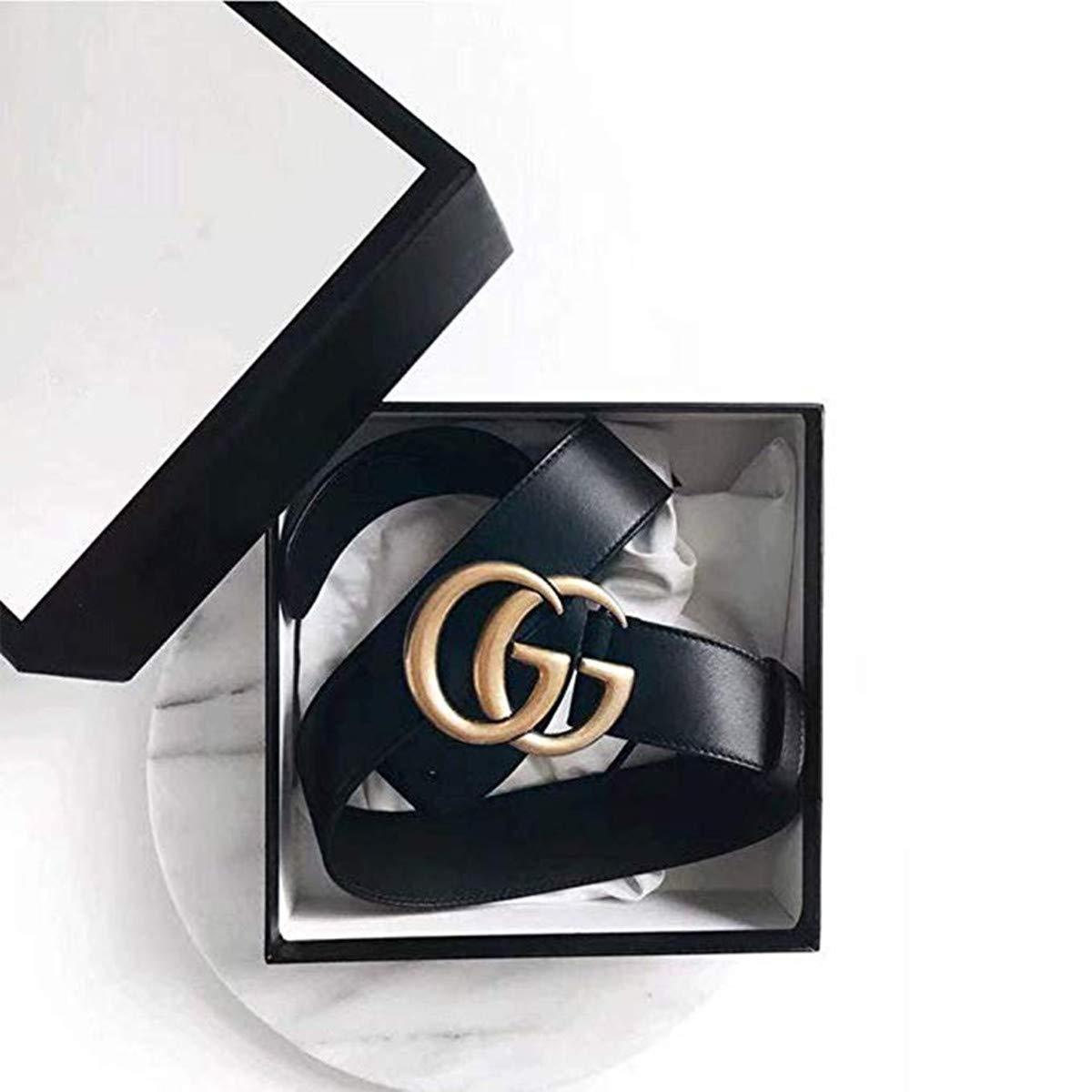 GG Buckle Belt for Women Black Leather