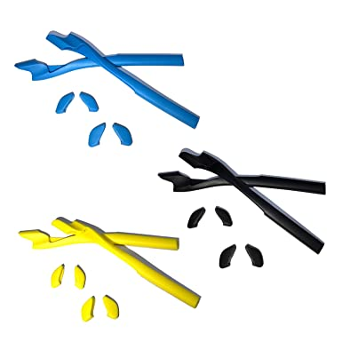 HKUCO Blue/Black/Yellow Replacement Silicone Leg Set For Oakley Half Jacket 2.0 XL Sunglasses Earsocks Rubber Kit AXPchTZXy