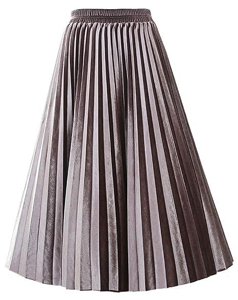5f66db4da588 SCHHJZPJ Autumn Winter Skirt, Women's Velvet Vintage Pleated Midi Skirts  Light Brown