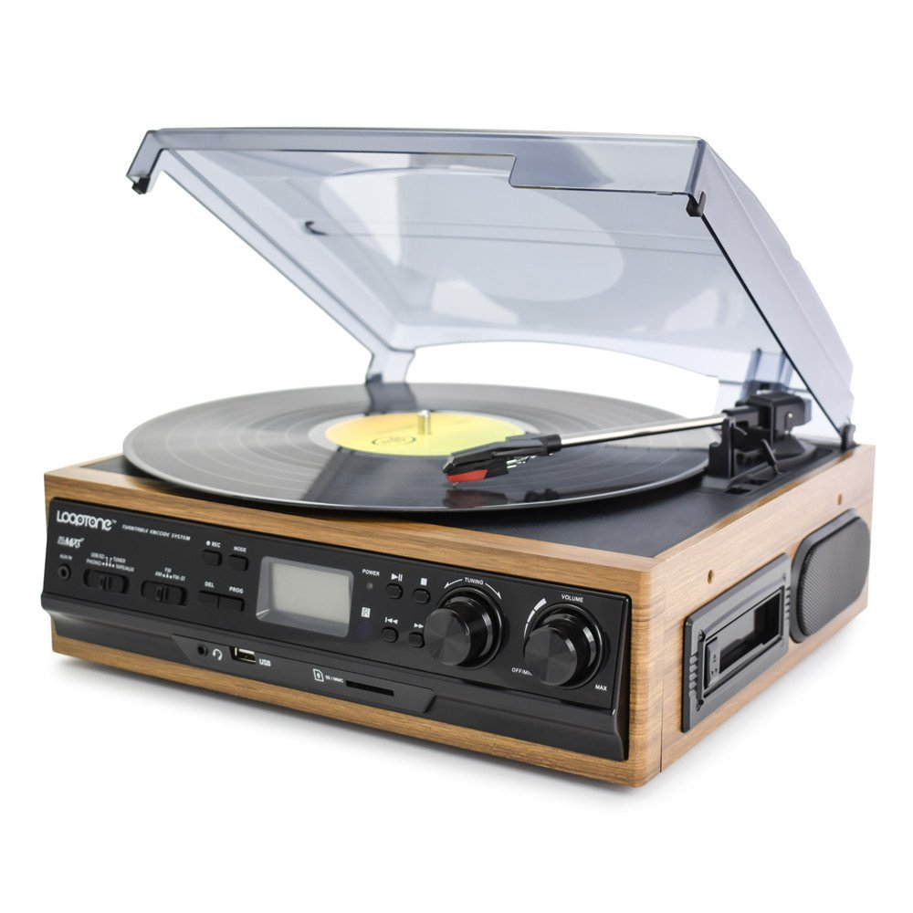 LoopTone 3 Speed Belt-Driven Stereo Record Player Turntable with Built in Speakers , AM/FM Radio , Supports USB/SD Encoding To MP3, Cassette Player,Aux in /Headphone Jack ,LCD Display (Light Brown )