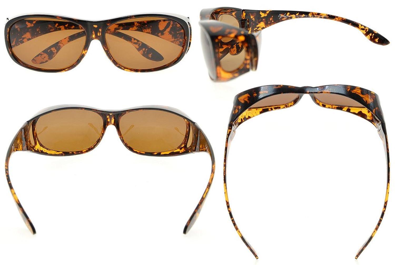Eyekepper Retro Style Grandi lenti polarizzate Fitover Occhiali da sole per Occhiali da vista (Bianco Tartaruga/Marrone Lenti) mIeUbhC