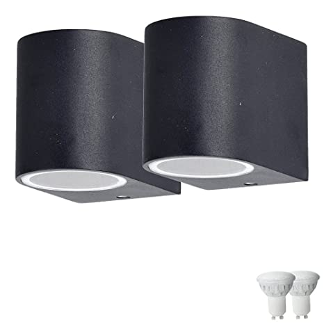 Conjunto de 2 de pared exterior radiadores de aluminio lámparas abajo fachadas conjunto de iluminación que