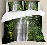 Waterfall Duvet Cover Set by Ambesonne, Exotic Rainforest with Waterfall in Indonesia Tropical Trees Adventure Picture, 3 Piece Bedding Set with Pillow Shams, King Size, Green White