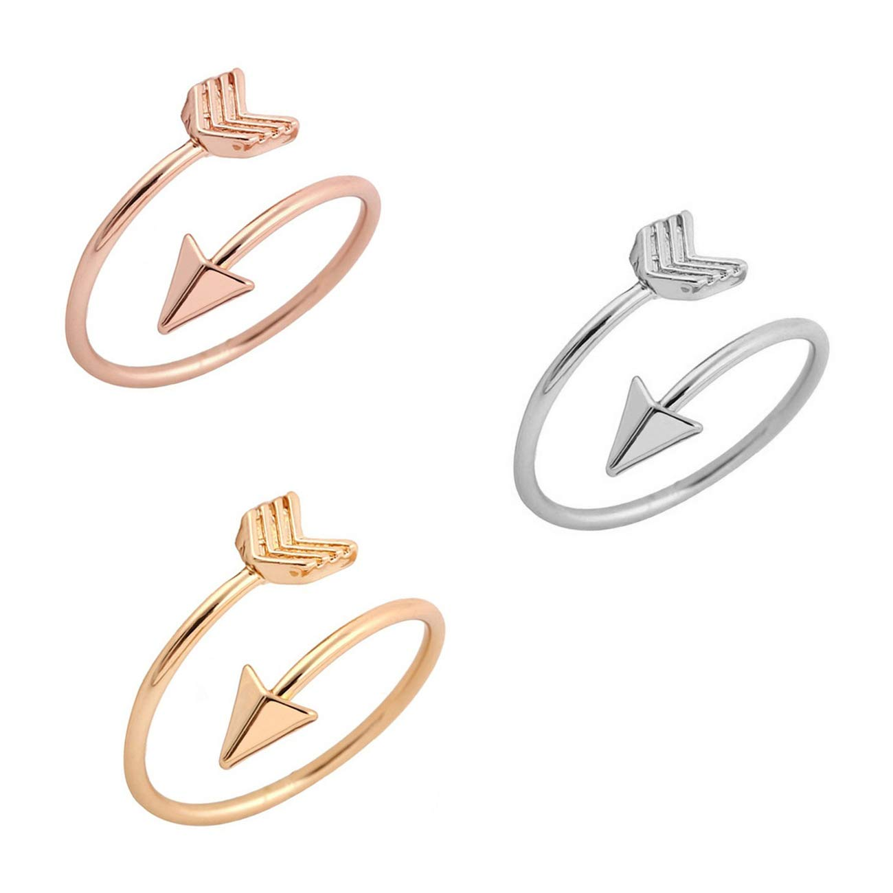 BRBAM Adjustable Love Struck Arrow Ring High Polished Wrap Ring for Woman (3 Color Set)