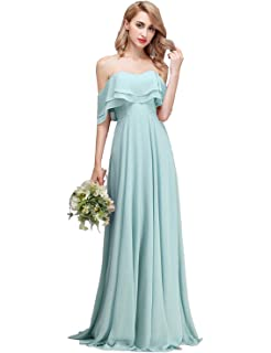 4c04502c5e CLOTHKNOW Strapless Chiffon Bridesmaid Dresses Long with Shoulder Ruffles  for Women Girls to Wedding Party Gowns