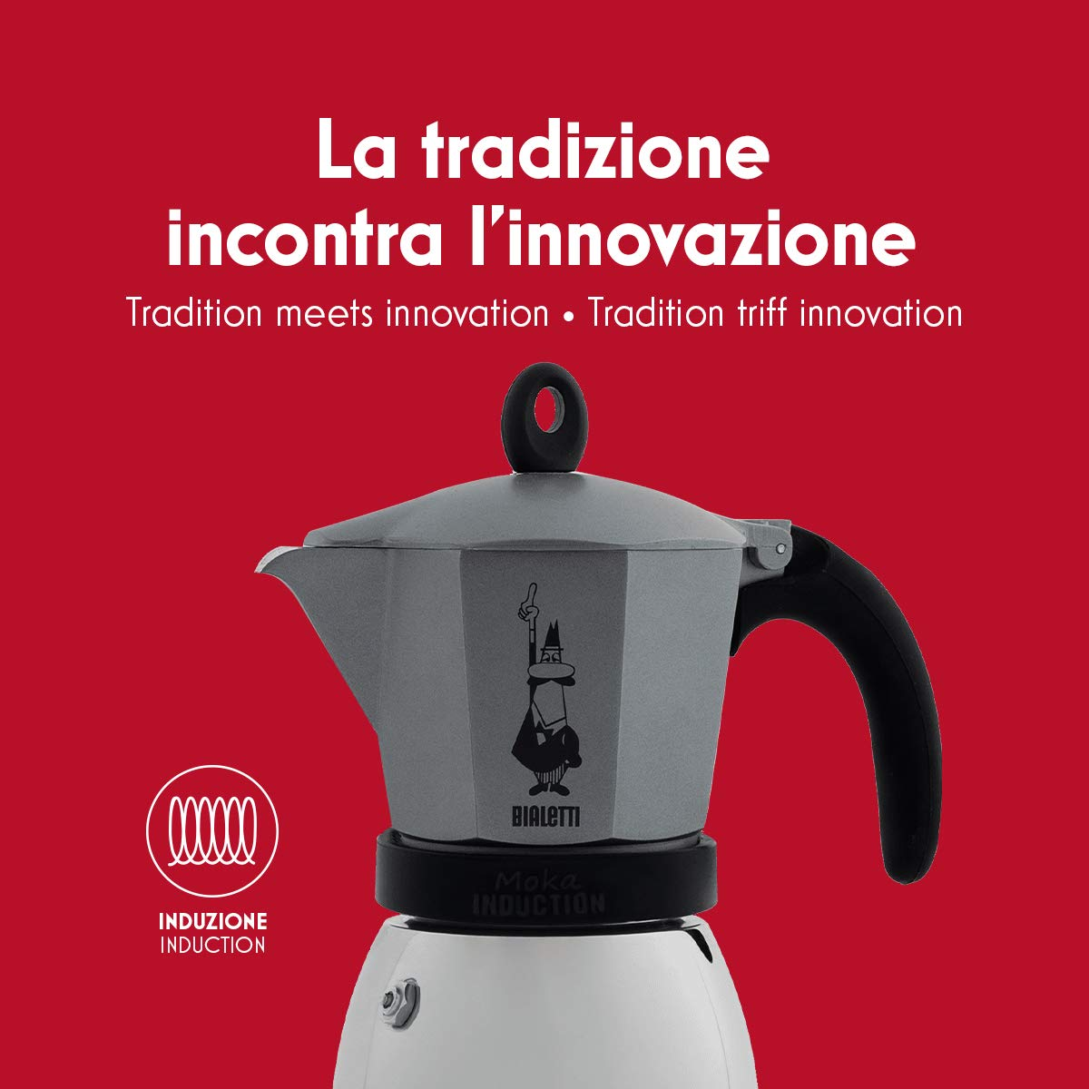 Bialetti Moka Induction, cafetera con Base de Acero para inducción, Color Rojo 3 Tazas