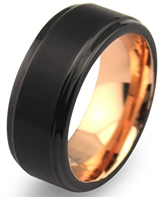 EZreal 8mm Black Tungsten Carbide Mens Wedding Bands with Matte