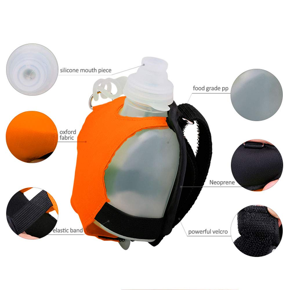 Cycling 12 Oz Hiking Foldable Reusable Leak Proof Silicone Water Sport Bottle for Climbing Outdoor Sports Travelling,BPA Free Collapsible Outdoor Coffee Cup with Lids