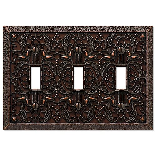 - Filigree Triple-Toggle Switch Plate in Aged Bronze
