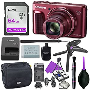 Canon Powershot SX720 Point & Shoot Digital Camera Bundle w/ Tripod Hand Grip , 64GB SD Memory , Case and More (Red)