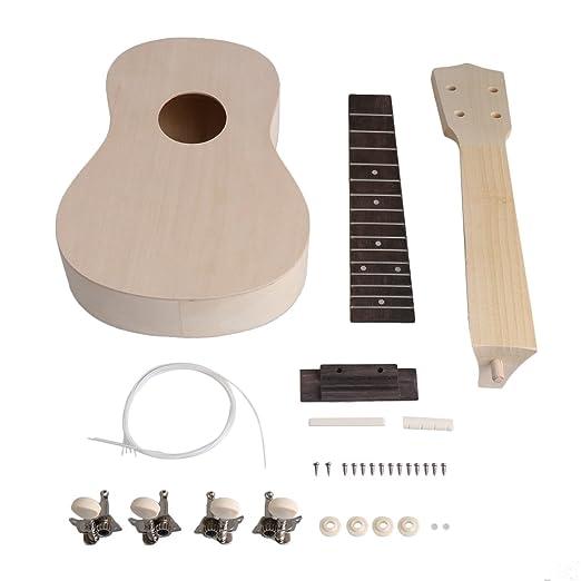 Yibuy - Juego completo de ukelele de madera de 53,3 cm para hacer tu propia guitarra Hawaii de 4 cuerdas: Amazon.es: Instrumentos musicales