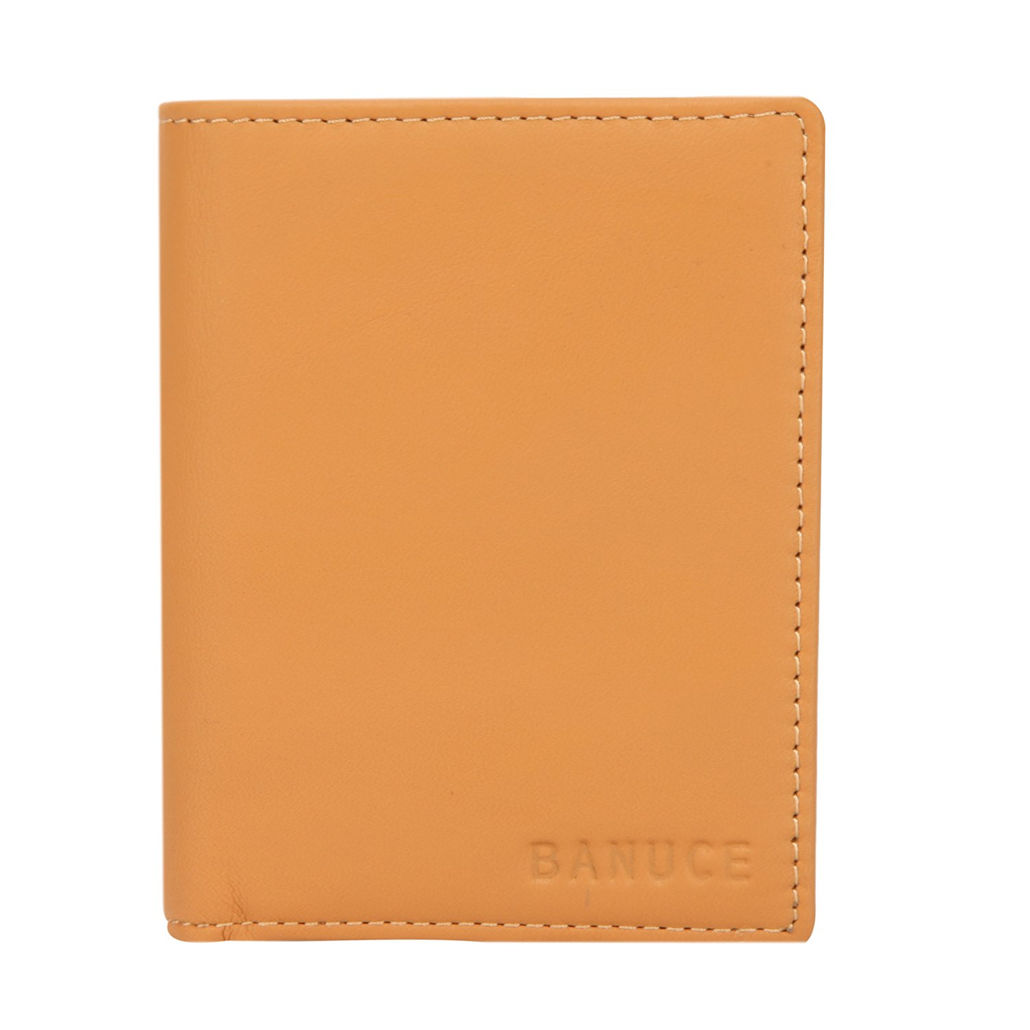Banuce Women's Full Grains Genuine Leather Slim Small Item Trifold Wallet Color Light Brown by Banuce (Image #4)