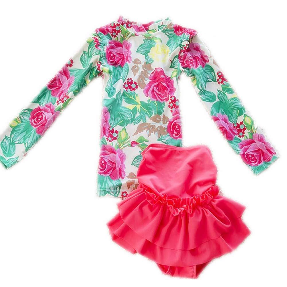 ZYZF Kids teens Girls Tankini Bikini Swimwear Floral Swimsuit Rash Guard UPF 50+ UV 20160404031