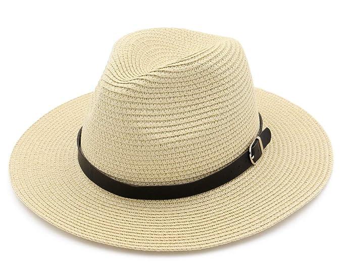 dcc36a30dcd2 LURY Panama Sun Hats for Women Men Wide Brim Fedora Straw Beach Hat UV UPF  50