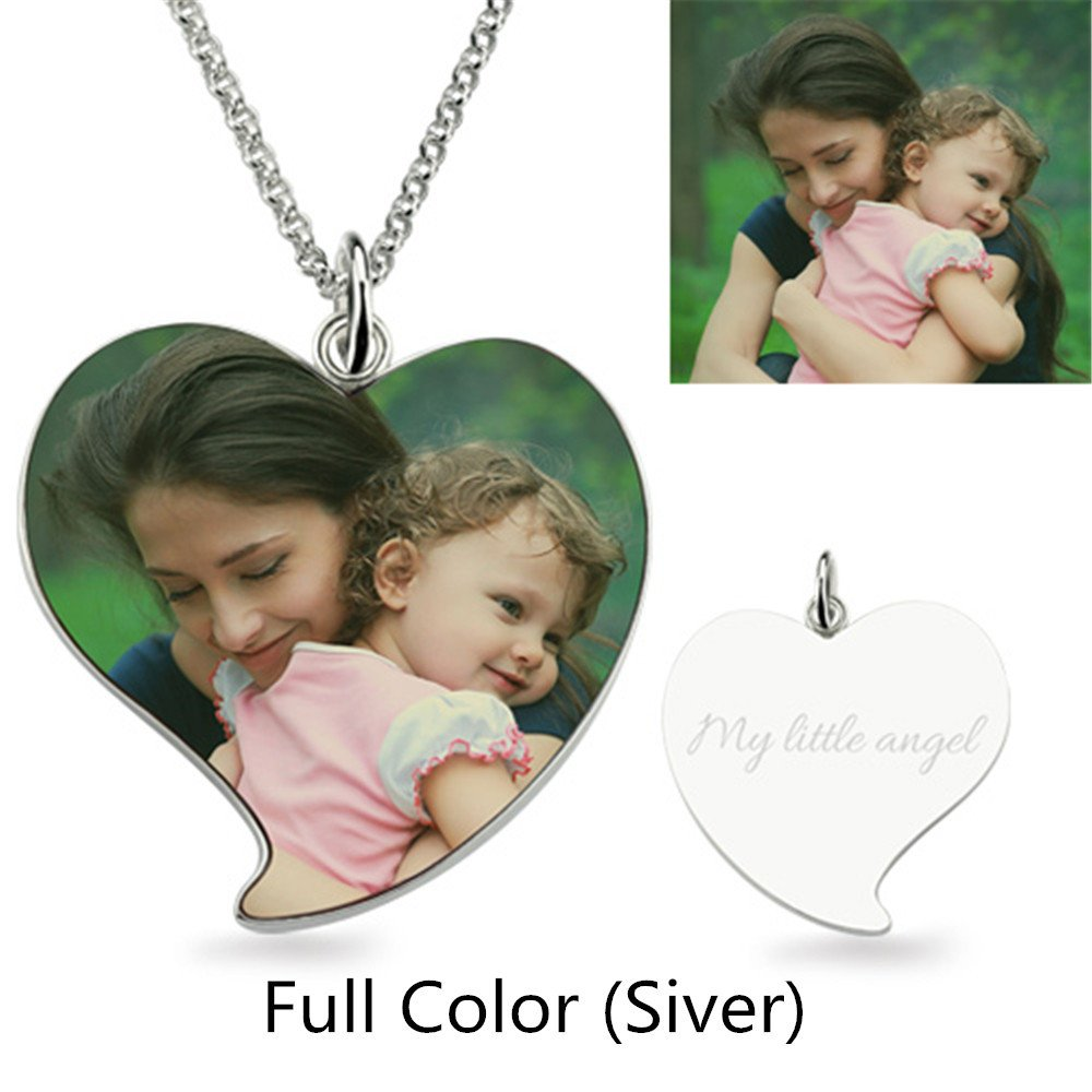 A2MYL Personalized Necklace Custom Photo Color and Engraved Dog Tag Necklace Pendant Best for Valentines Day Gift Silver Heart